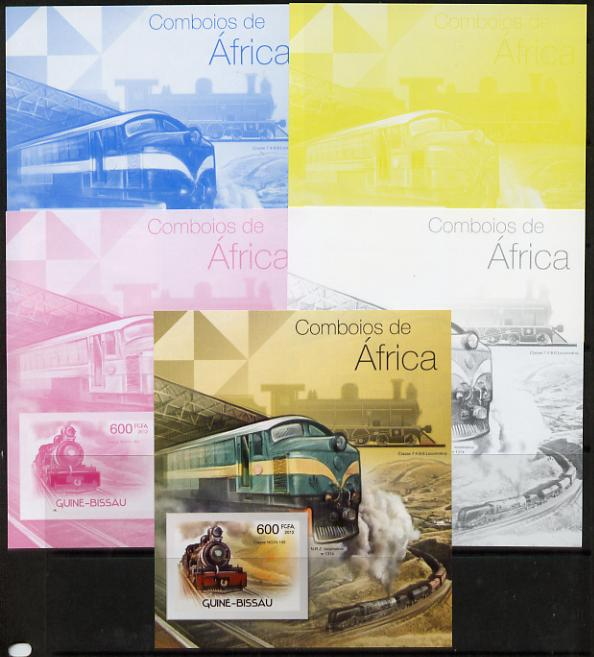 Guinea - Bissau 2012 Railways of Africa #2 m/sheet - the set of 5 imperf progressive proofs comprising the 4 individual colours plus all 4-colour composite, unmounted mint