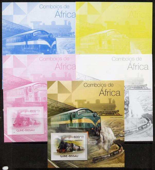 Guinea - Bissau 2012 Railways of Africa #3 m/sheet - the set of 5 imperf progressive proofs comprising the 4 individual colours plus all 4-colour composite, unmounted mint
