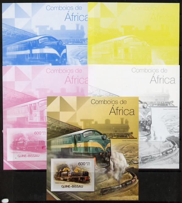 Guinea - Bissau 2012 Railways of Africa #4 m/sheet - the set of 5 imperf progressive proofs comprising the 4 individual colours plus all 4-colour composite, unmounted mint