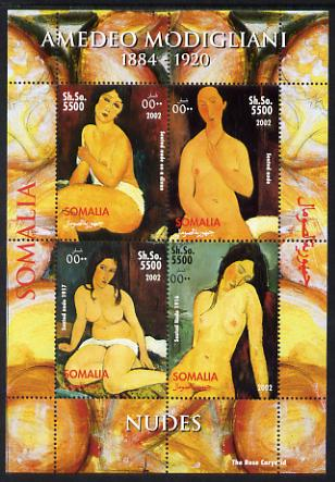 Somalia 2002 Amedeo Modigliani perf sheetlet containing 4 values unmounted mint. Note this item is privately produced and is offered purely on its thematic appeal