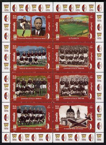 Somalia 1999 Football - Grande Torino perf sheetlet containing 8 values unmounted mint. Note this item is privately produced and is offered purely on its thematic appeal