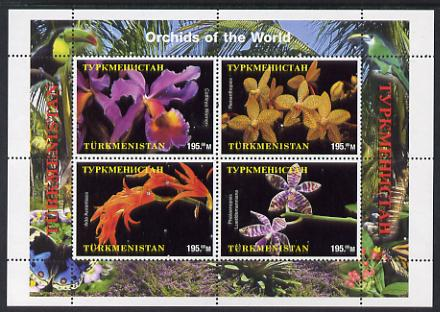 Turkmenistan 2000 Orchids perf sheetlet containing 4 values unmounted mint. Note this item is privately produced and is offered purely on its thematic appeal