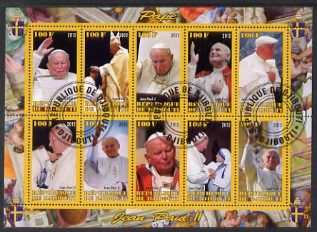 Djibouti 2012 Pope John Paul II #2 perf sheetlet containing 10 values cto used, stamps on personalities, stamps on pope, stamps on popes, stamps on religion