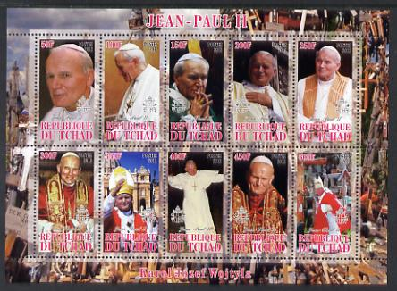 Chad 2012 Pope John Paul II #2 perf sheetlet containing 10 values unmounted mint