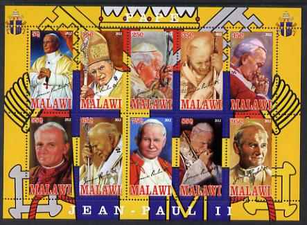 Malawi 2012 Pope John Paul II #2 perf sheetlet containing 10 values unmounted mint