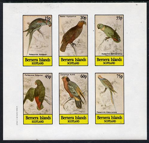 Bernera 1982 Parrots imperf set of 6 values (15p to 75p) unmounted mint