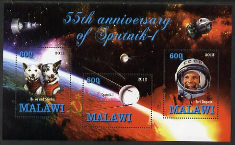 Malawi 2012 55th Anniversary of Sputnik perf sheetlet containing 3 values unmounted mint