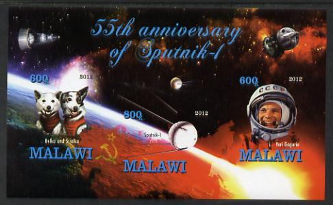 Malawi 2012 55th Anniversary of Sputnik imperf sheetlet containing 3 values unmounted mint
