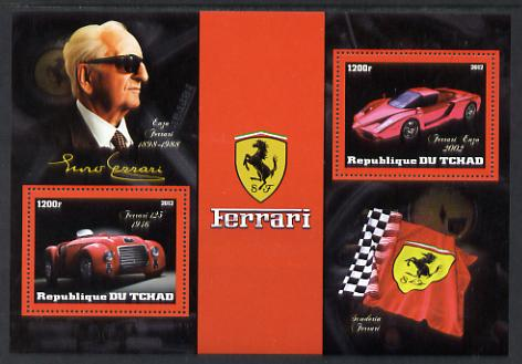 Chad 2012 Ferrari perf sheetlet containing 2 values unmounted mint