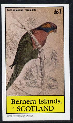 Bernera 1982 Parrots imperf souvenir sheet (�1 value) unmounted mint