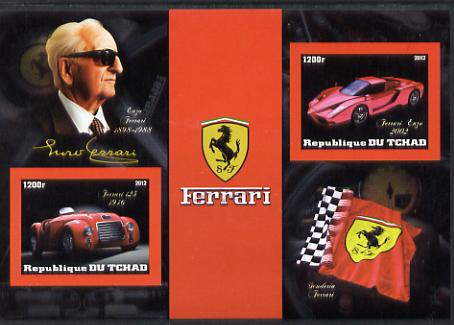 Chad 2012 Ferrari imperf sheetlet containing 2 values unmounted mint