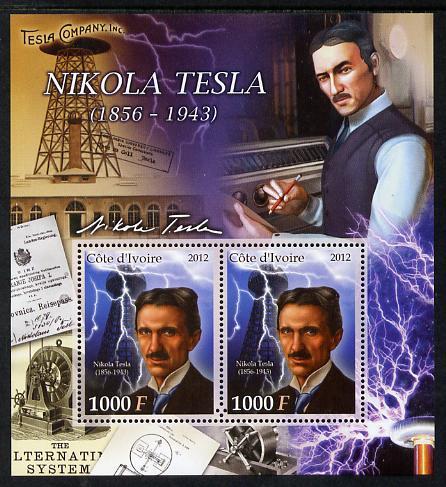 Ivory Coast 2012 Nikola Tesla perf sheetlet containing 2 values unmounted mint