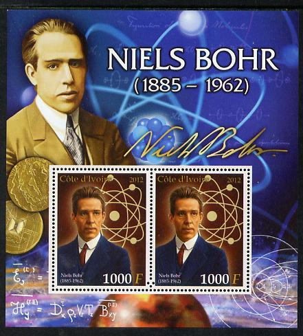 Ivory Coast 2012 Niels Bohr perf sheetlet containing 2 values unmounted mint