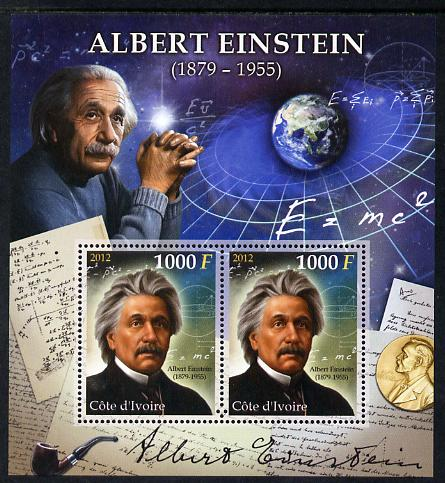 Ivory Coast 2012 Albert Einstein perf sheetlet containing 2 values unmounted mint