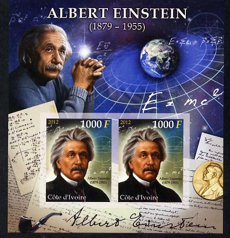 Ivory Coast 2012 Albert Einstein imperf sheetlet containing 2 values unmounted mint