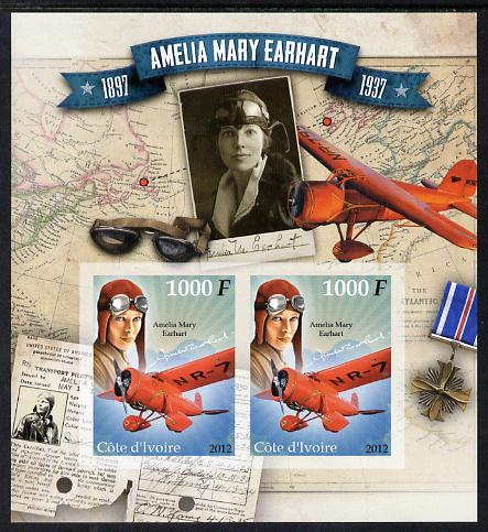 Ivory Coast 2012 Amelia Earhart imperf sheetlet containing 2 values unmounted mint