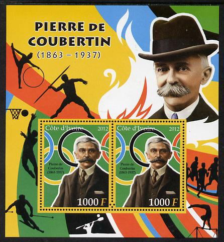 Ivory Coast 2012 Pierre de Coubertin perf sheetlet containing 2 values unmounted mint