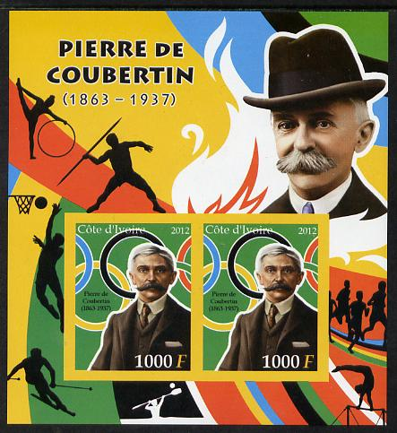 Ivory Coast 2012 Pierre de Coubertin imperf sheetlet containing 2 values unmounted mint