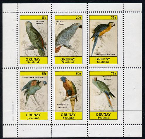 Grunay 1982 Parrots perf set of 6 values (15p to 75p) unmounted mint, stamps on birds    parrots