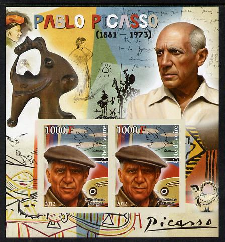 Ivory Coast 2012 Pablo Picasso imperf sheetlet containing 2 values unmounted mint