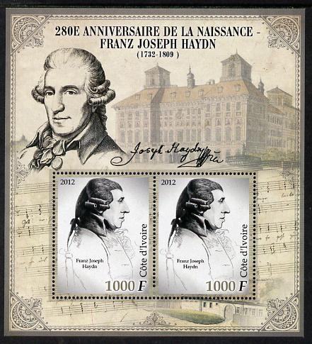 Ivory Coast 2012 Franz Joseph Haydn perf sheetlet containing 2 values unmounted mint