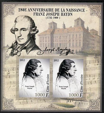 Ivory Coast 2012 Franz Joseph Haydn imperf sheetlet containing 2 values unmounted mint