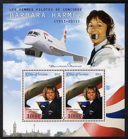 Ivory Coast 2012 Barbara Harmer (Concorde Pilot) perf sheetlet containing 2 values unmounted mint