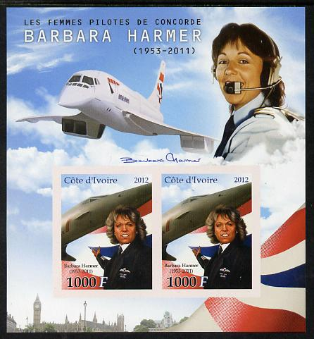 Ivory Coast 2012 Barbara Harmer (Concorde Pilot) imperf sheetlet containing 2 values unmounted mint