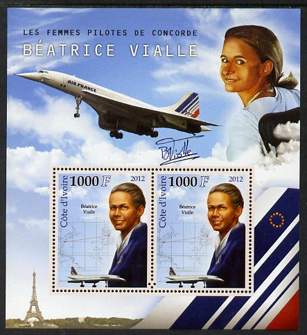 Ivory Coast 2012 Beatrice Vialle (Concorde Pilot) perf sheetlet containing 2 values unmounted mint