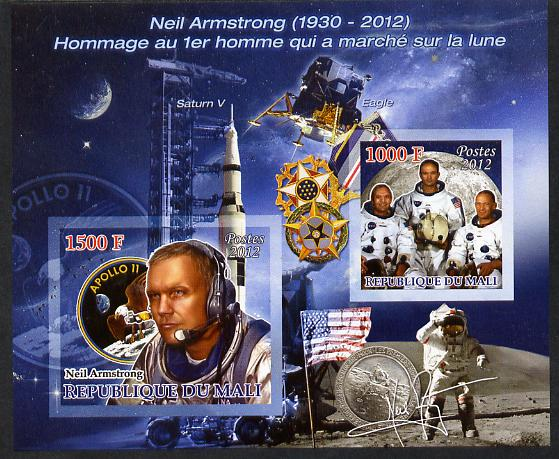 Mali 2012 Neil Armstrong imperf sheetlet containing 2 values unmounted mint