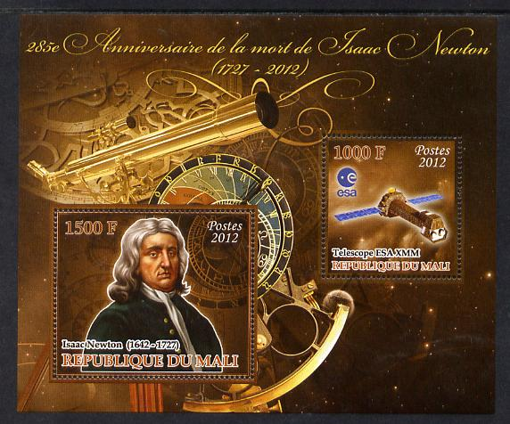 Mali 2012 Death Anniversary of Isaac Newton perf sheetlet containing 2 values unmounted mint