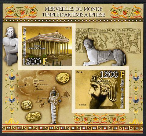 Niger Republic  2012 Wonders of the World - Temple of Artemis imperf sheetlet containing 2 values unmounted mint
