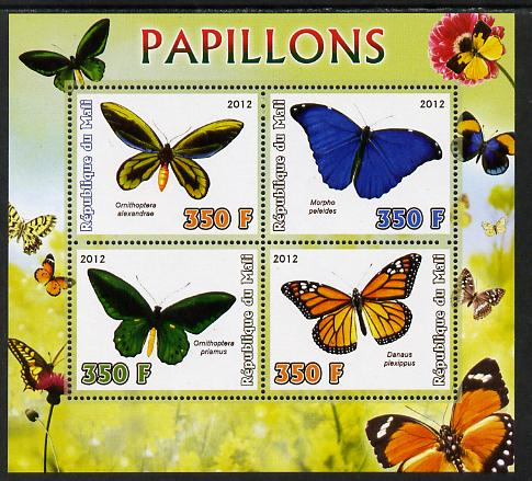 Mali 2012 Fauna - Butterflies perf sheetlet containing 4 values unmounted mint