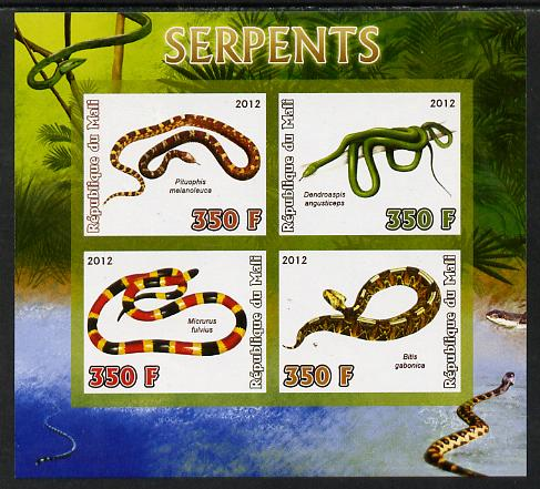 Mali 2012 Fauna - Snakes imperf sheetlet containing 4 values unmounted mint, stamps on , stamps on  stamps on snakes, stamps on  stamps on reptiles, stamps on  stamps on