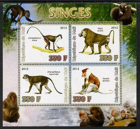 Mali 2012 Fauna - Monkeys perf sheetlet containing 4 values unmounted mint