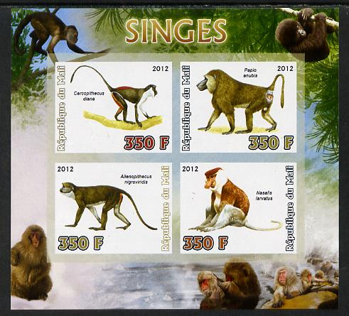 Mali 2012 Fauna - Monkeys imperf sheetlet containing 4 values unmounted mint