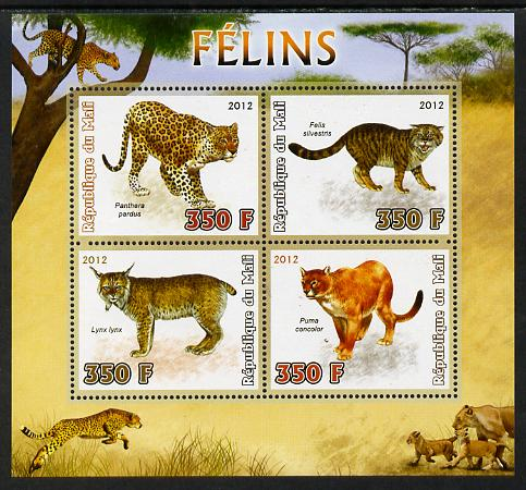 Mali 2012 Fauna - Big Cats perf sheetlet containing 4 values unmounted mint