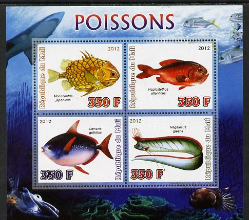 Mali 2012 Fauna - Fish perf sheetlet containing 4 values unmounted mint