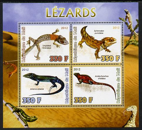 Mali 2012 Fauna - Lizards perf sheetlet containing 4 values unmounted mint
