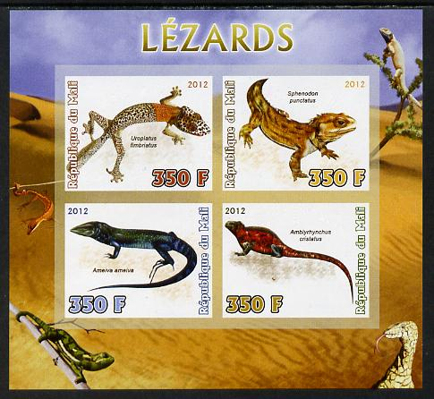 Mali 2012 Fauna - Lizards imperf sheetlet containing 4 values unmounted mint
