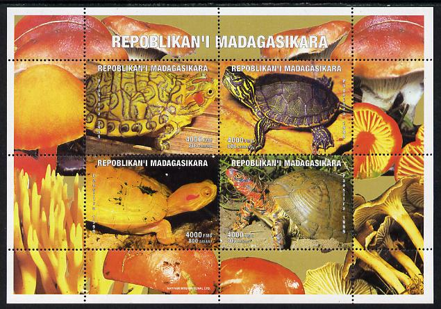Madagascar 1999 Tortoises perf sheetlet containing 4 values unmounted mint. Note this item is privately produced and is offered purely on its thematic appeal