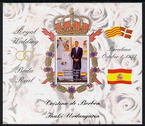 Turkmenistan 1997 Royal Wedding - Duke & Duchess of Mallorca perf m/sheet unmounted mint. Note this item is privately produced and is offered purely on its thematic appeal
