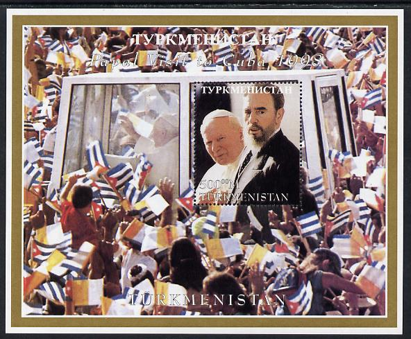 Turkmenistan 1998 Pope John Paul II Visit to Cuba perf m/sheet unmounted mint. Note this item is privately produced and is offered purely on its thematic appeal