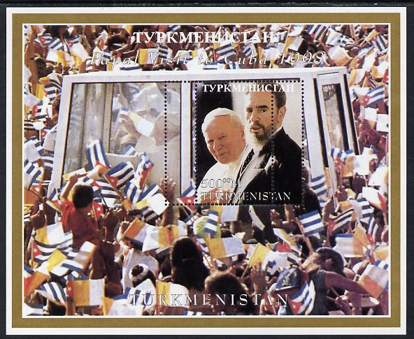Turkmenistan 1998 Pope John Paul II Visit to Cuba perf m/sheet with perforating comb doubled unmounted mint, most unusual