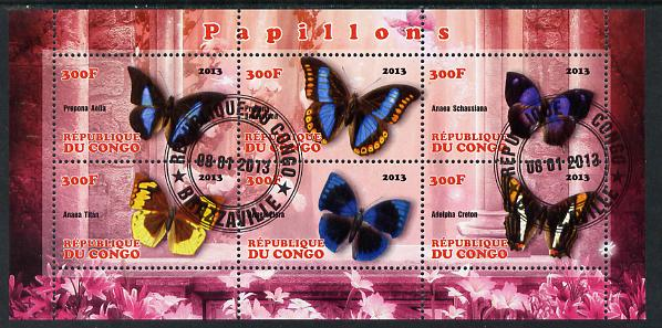 Congo 2013 Butterflies #2 perf sheetlet containing 6 values fine cto used