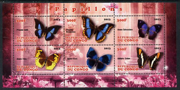 Congo 2013 Butterflies #2 perf sheetlet containing 6 values unmounted mint