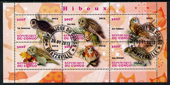 Congo 2013 Owls perf sheetlet containing 6 values fine cto used
