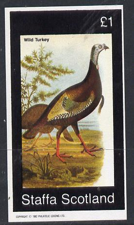 Staffa 1982 Birds #26 (Wild Turkey) imperf souvenir sheet (�1 value) unmounted mint