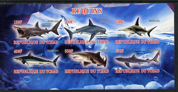Chad 2013 Sharks imperf sheetlet containing 6 values unmounted mint