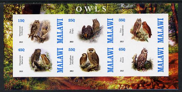 Malawi 2013 Owls imperf sheetlet containing 6 values unmounted mint